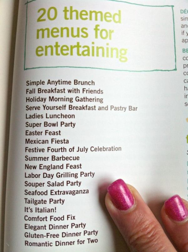 Recipe Girl Cookbook Menus