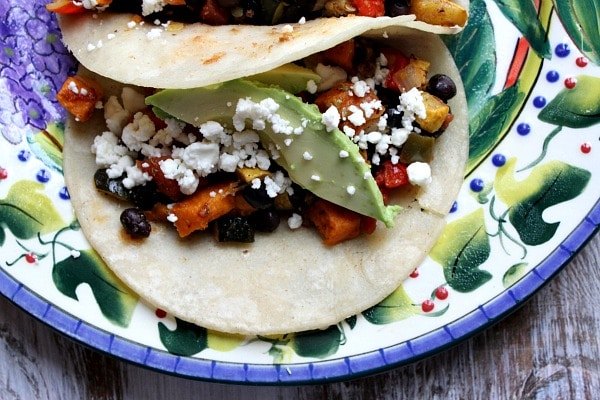 Roasted Vegetable and Black Bean Tacos recipe from RecipeGirl.com