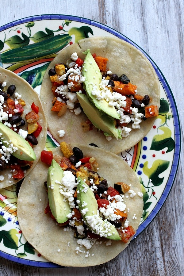 Roasted Vegetable and Black Bean Tacos recipe - from RecipeGirl.com