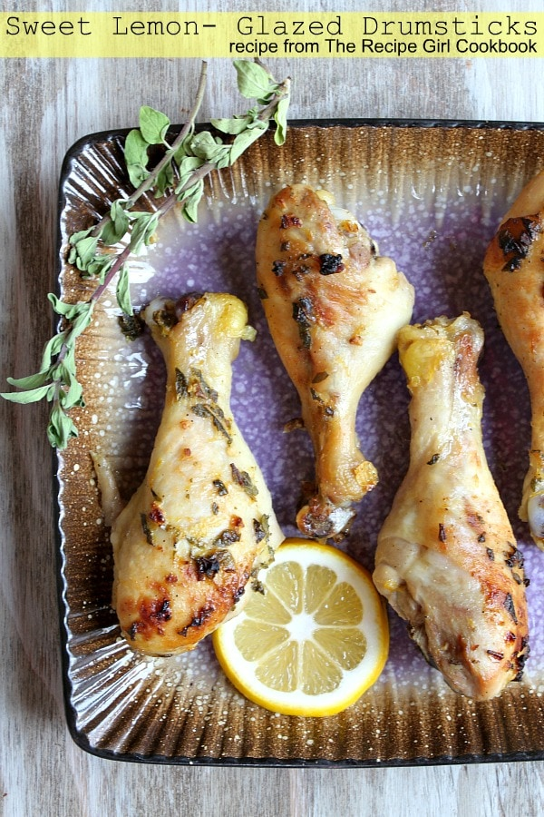 Sweet Lemon Glazed Drumsticks - RecipeGirl.com