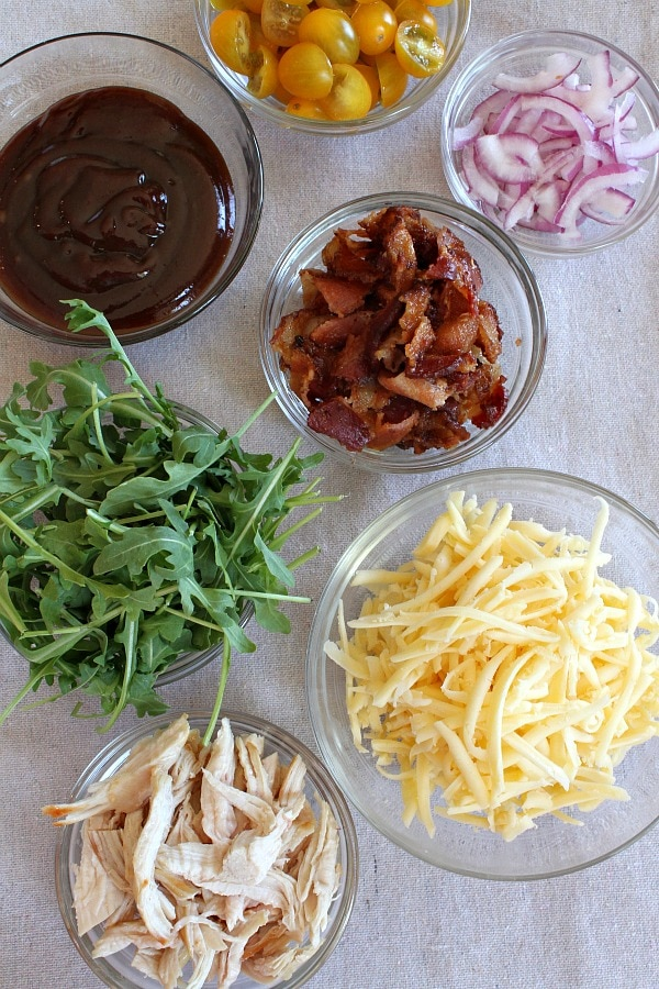 Toppings for BBQ Chicken and Bacon Pizza in bowls