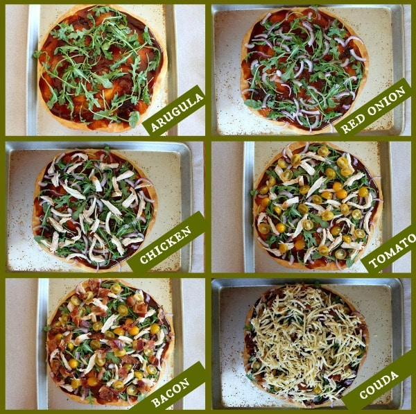 photos showing adding toppings to BBQ Chicken and Bacon Pizza