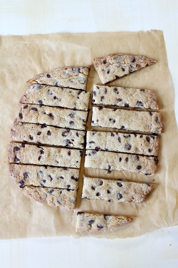 Chocolate Chip Toffee Strip Cookies