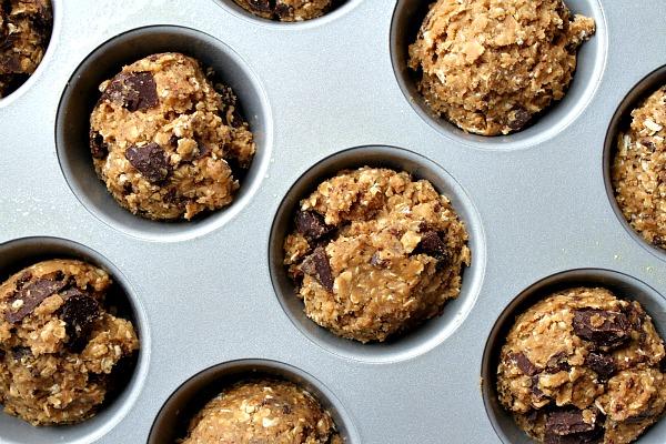 Dark Chocolate Oatmeal Cookie Cupcake dough in muffin tin