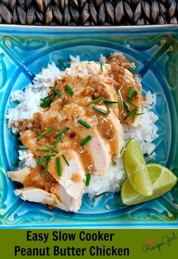 Slow Cooker Peanut Butter Chicken - RecipeGirl.com
