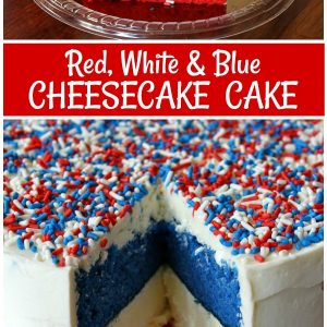 pinterest collage image for red, white and blue cheesecake cake