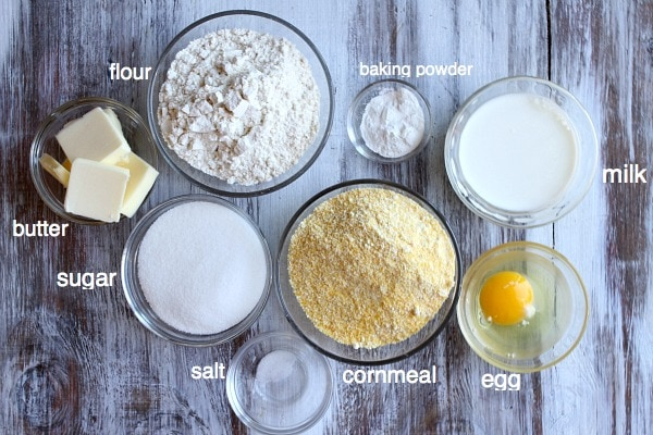Ingredients displayed in glass bowls for cobbler topping