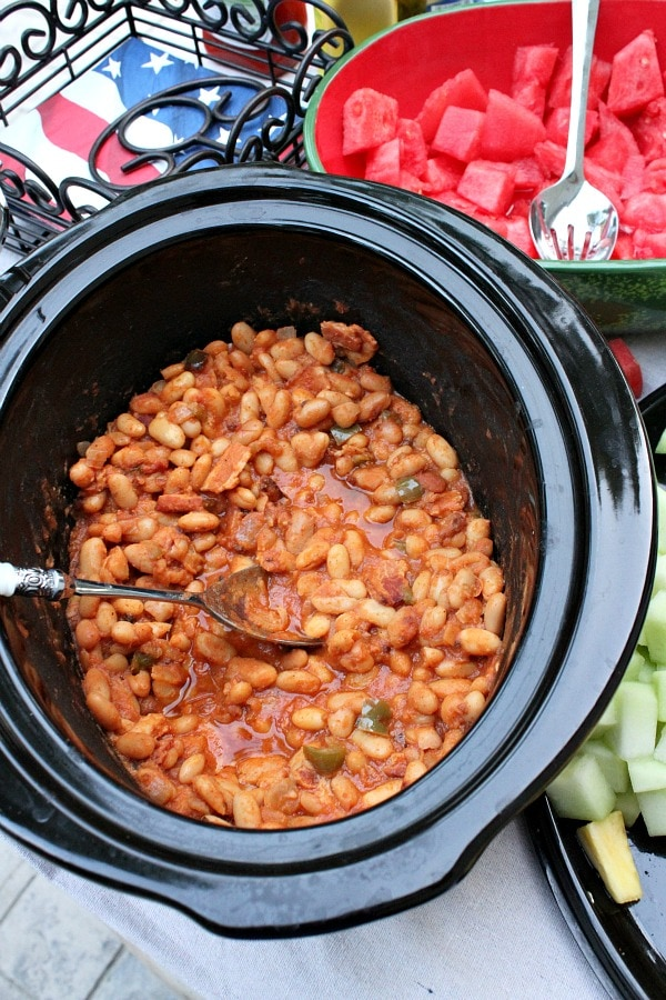 Bacon and Brown Sugar Slow Cooker Baked Beans