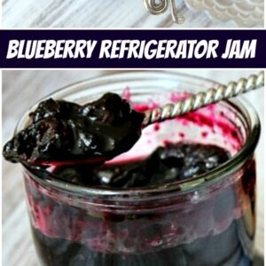 pinterest collage image for blueberry refrigerator jam