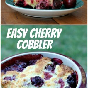 pinterest collage image for easy cherry cobbler