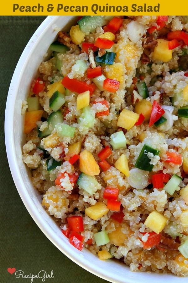 Peach and Pecan Quinoa Salad - the perfect summer salad recipe from RecipeGirl.com