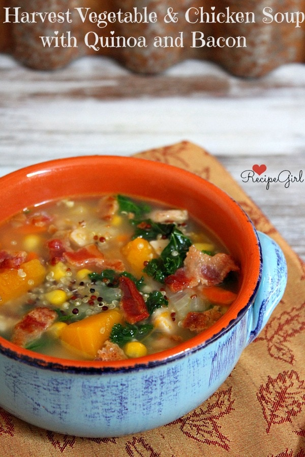 Harvest Vegetable Chicken And Quinoa Soup With Bacon From Recipegirl Com