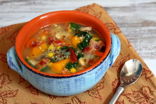 Harvest Vegetable and Chicken Soup with Quinoa and Bacon recipe by RecipeGirl.com