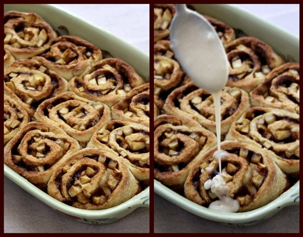 No Yeast Apple Cinnamon Rolls - Drizzling icing