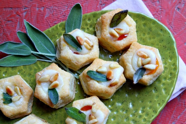Apricot- Brie Bites with Fried Sage