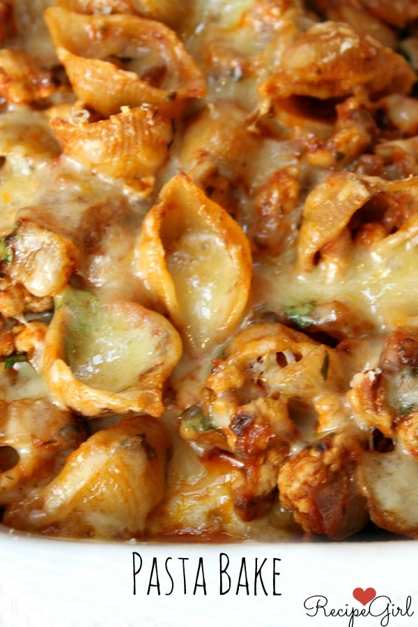 Pasta Bake - Baked Turkey Pasta Shells with Cheese - RecipeGirl