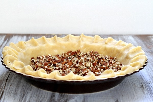 Pecan Pie crust with pecans