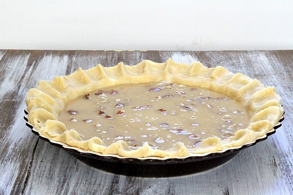 Pecan Pie crust with filling