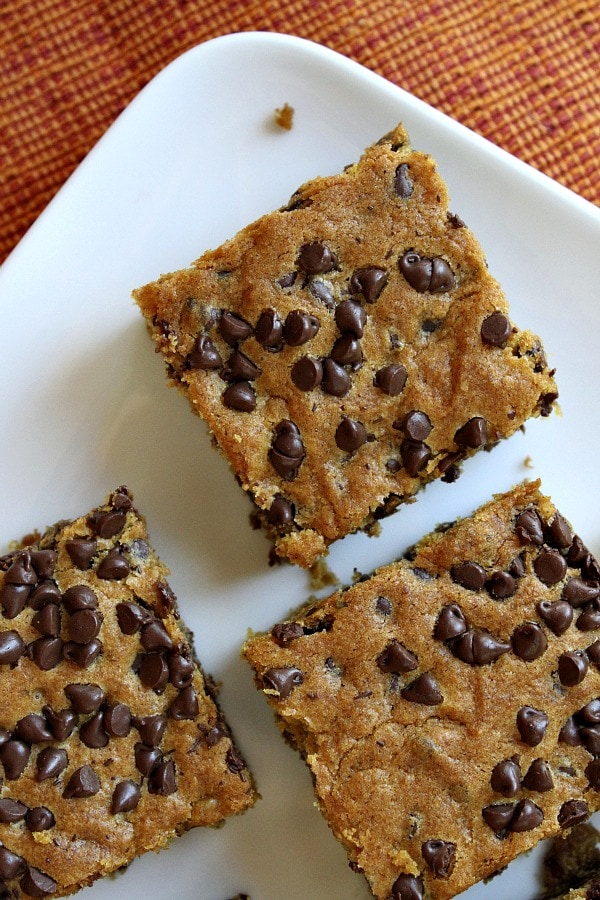 Pumpkin- Chocolate Chip Squares - RecipeGirl.com