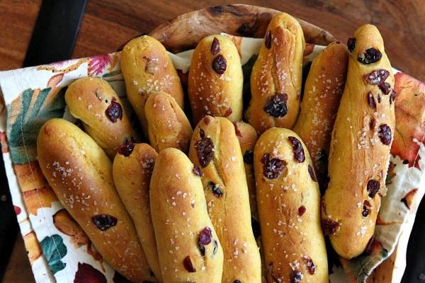 Pumpkin- Cranberry Breadsticks