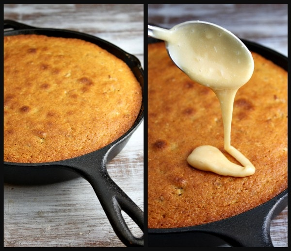 Pumpkin Pecan Skillet Cake drizzled with Salted Butterscotch Glaze