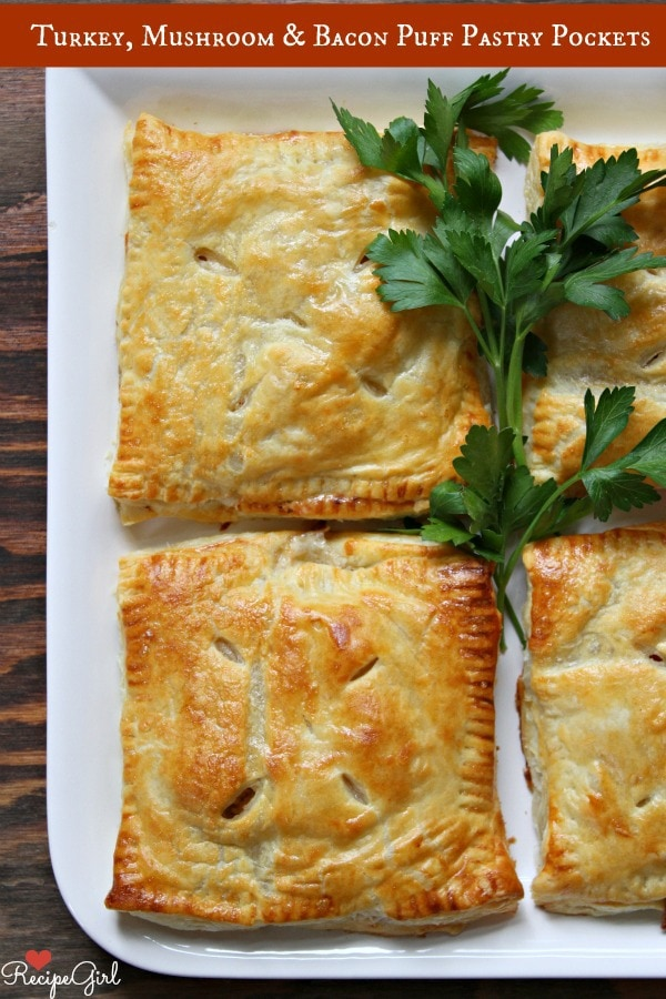 Turkey, Mushroom and Bacon Puff Pastry Pockets - RecipeGirl.com