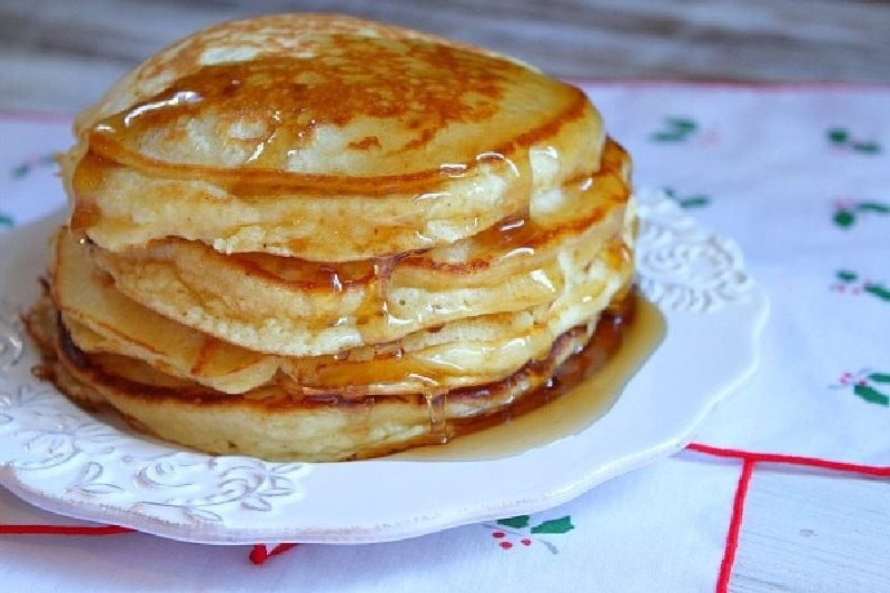 pancakes in a stack on a plate