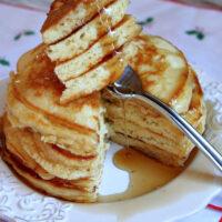 fork full of eggnog pancakes