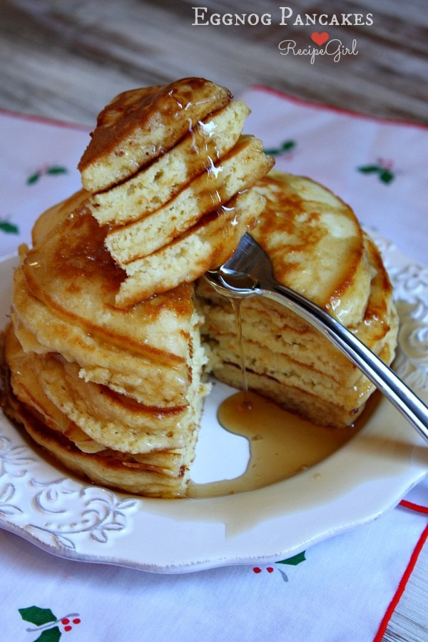 Eggnog Pancakes from RecipeGirl.com