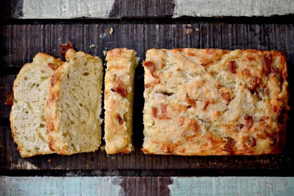 Cheddar Dill Beer Bread with Bacon