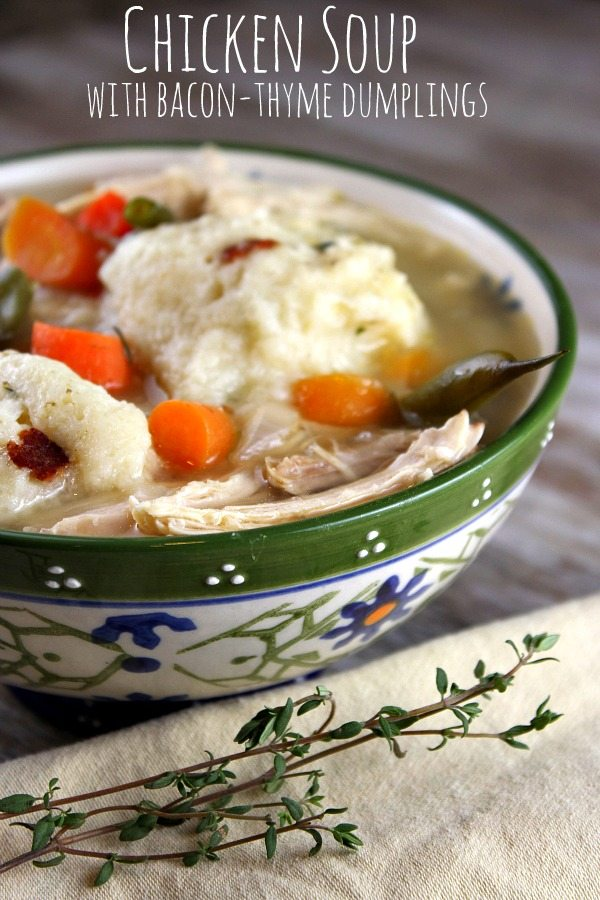 Chicken Soup with Bacon-Thyme Dumplings 600