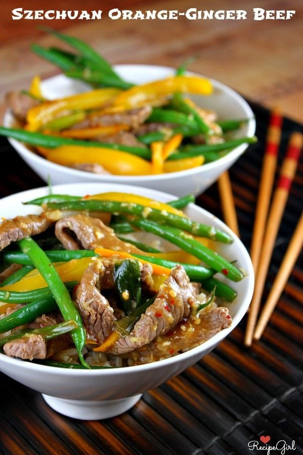 Szechuan Orange Ginger Beef - RecipeGirl.com