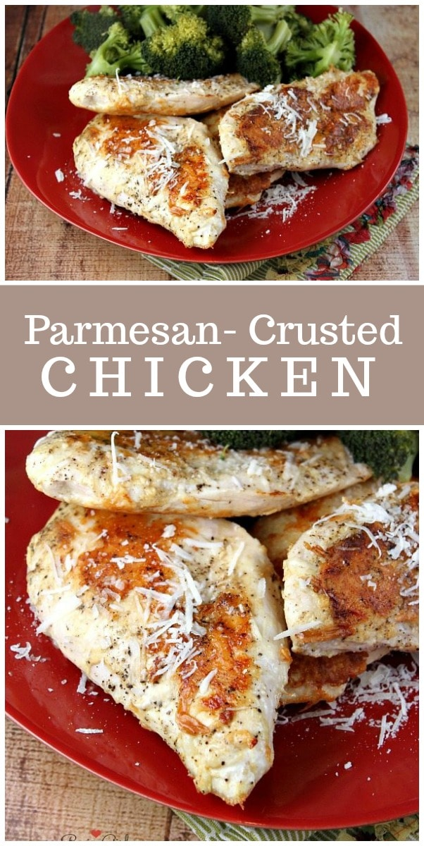 Easy Parmesan Crusted Chicken Breasts recipe from RecipeGirl.com #chicken #parmesan #recipe #weightwatchers #wwfreestyle #smartpoints