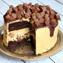 Chocolate Peanut Butter Cup Cheesecake Cake