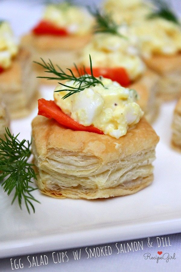 Egg Salad Cups with Smoked Salmon and Dill - #recipe RecipeGirl.com