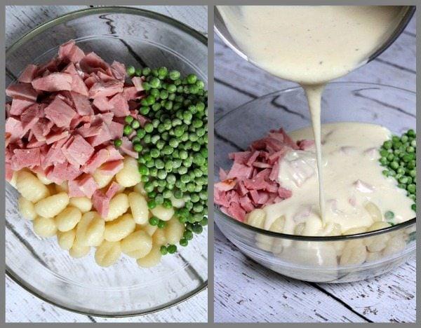 Ham and Swiss Baked Gnocchi Prep 2