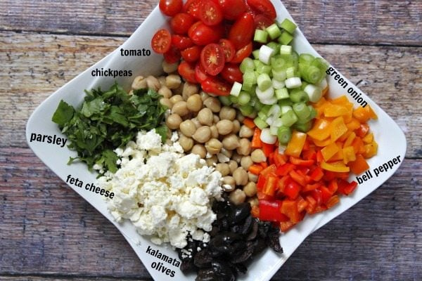 Ingredients for Mediterranean Chickpea Salad