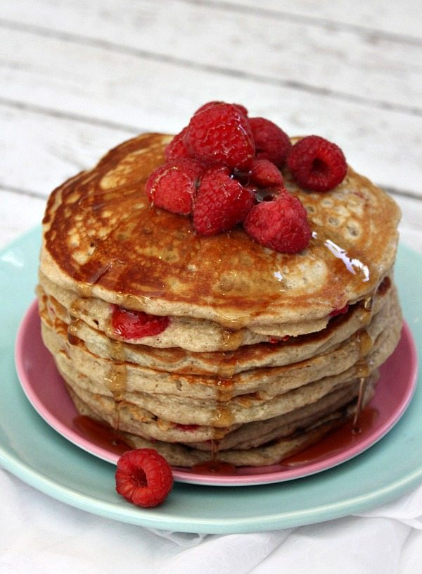 Raspberry Buttermilk Pancakes with Warm Maple Syrup