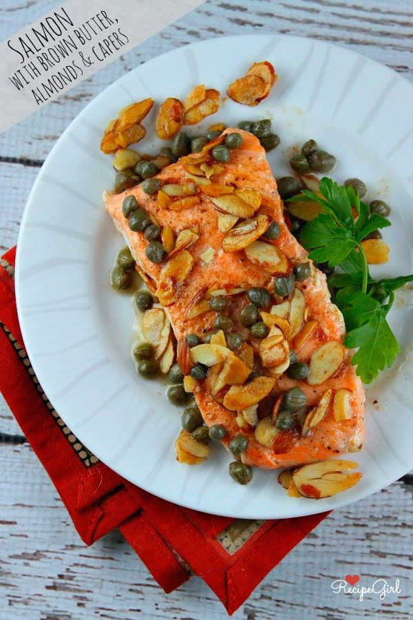 Salmon with Brown Butter, Almonds and Capers #recipe - RecipeGirl.com