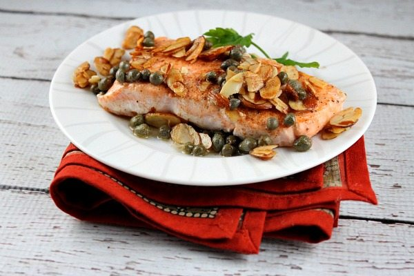 Salmon with Brown Butter, Almonds and Capers recipe from RecipeGirl.com