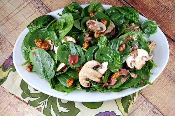Pinterest collage image for Spinach Salad with Hot Prosciutto Dressing