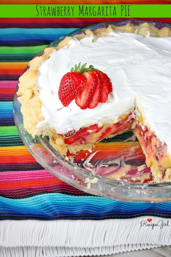 Strawberry Margarita Pie #recipe - RecipeGirl.com