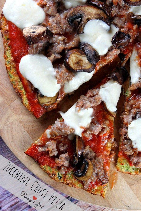 Zucchini Crust Pizza - RecipeGirl.com #recipe