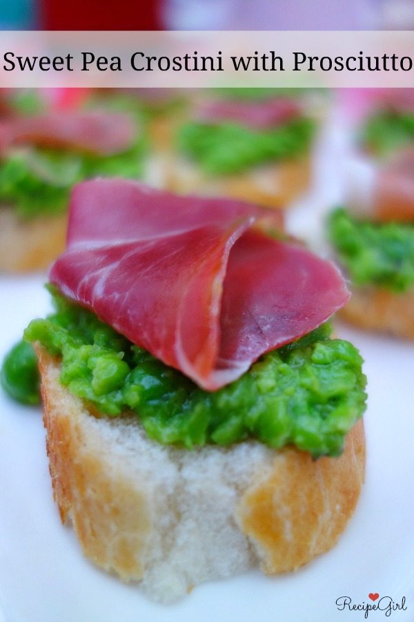 Sweet Pea Crostini with Prosciutto #appetizer #recipe - RecipeGirl.com