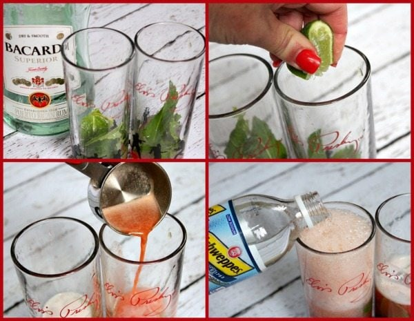 Four photos showing how to make cherry mojitos- glasses with mint and bottle of bacardi, lime being squeezed in, cherry syrup being poured in the glasses and then club soda being poured in the glasses