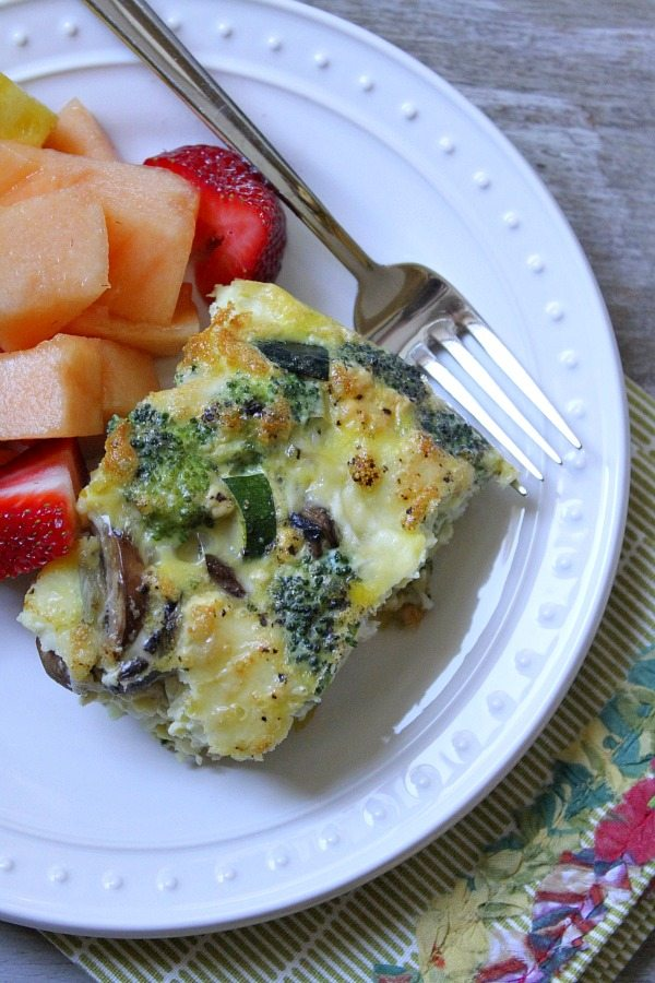 Crustless Brie, Vegetable and Egg Bake recipe from RecipeGirl.com