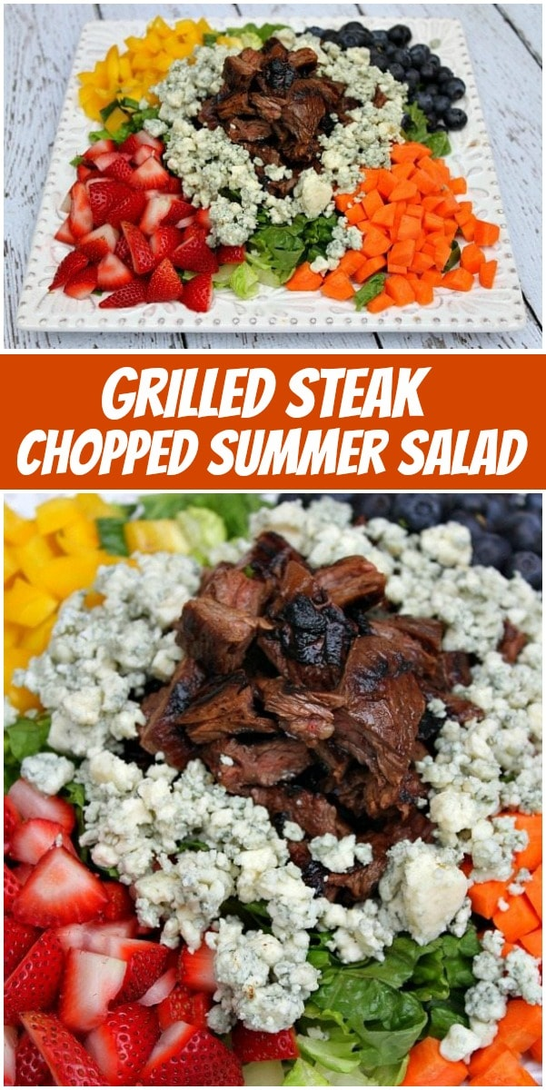 pinterest collage image for grilled steak summer salad