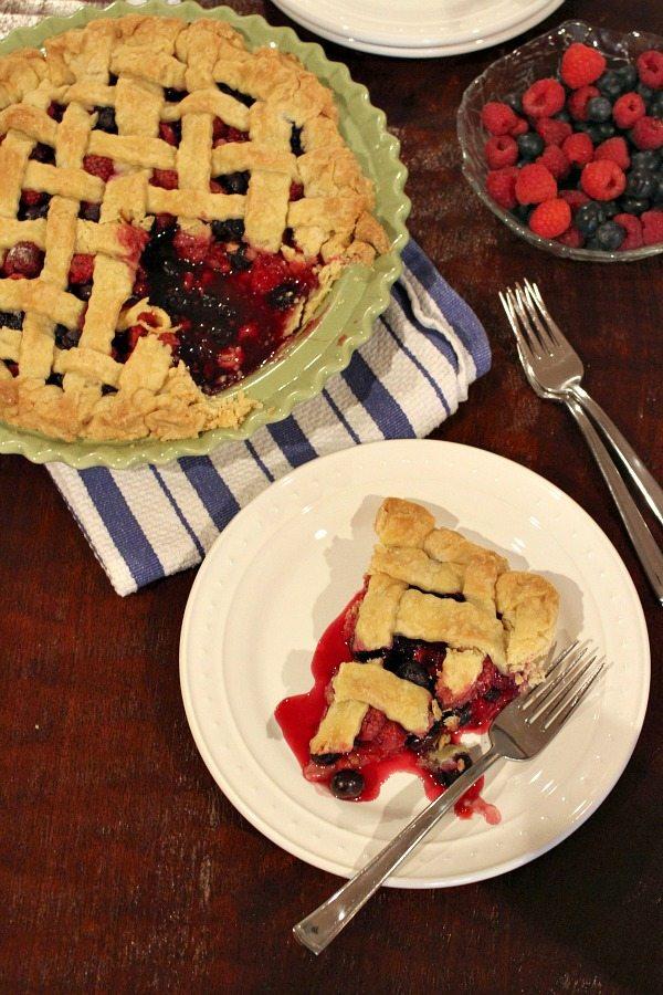 Raspberry- Blueberry Pie #recipe - RecipeGirl.com