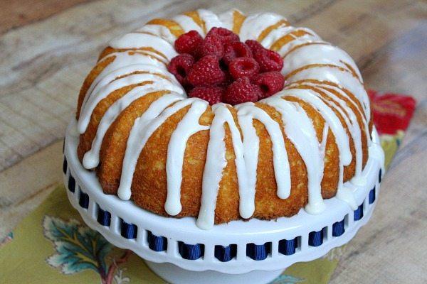 Raspberry Lemonade Bundt Cake on a cake platter