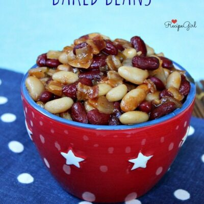 sweet and spicy baked beans with a red, white and blue background